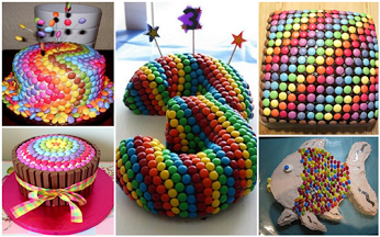 Make your own rainbow cake - use M&M