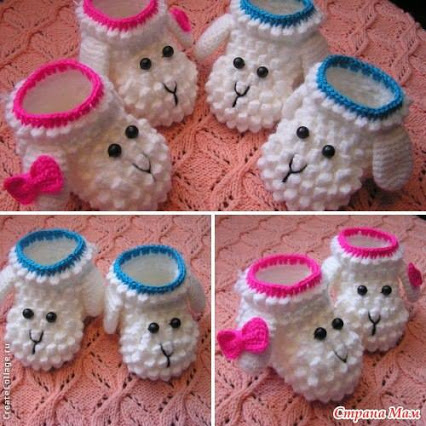Crocheted Lamb Booties手钩羔羊短靴