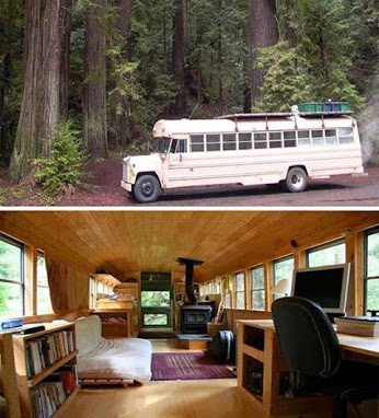 A young couple in Northern California has transformed an old school bus into a beautiful House.