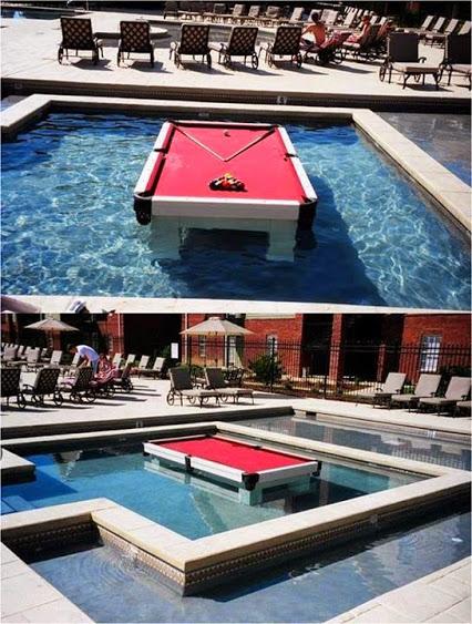 泳池中玩台球好创意