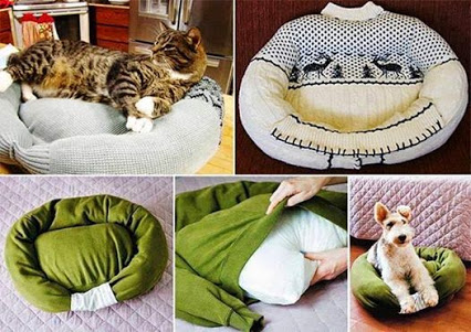 Awesome way to reuse an old sweater. 利用一个旧的毛衣棒做的小狗坐垫。