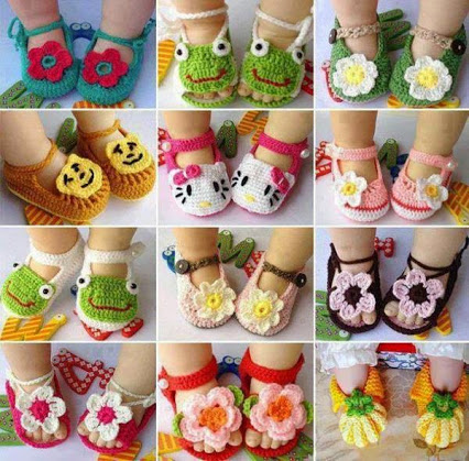 Crochet Baby Sandals. 钩针婴儿鞋。