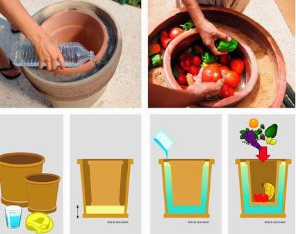 DIY Pot-In-Pot Refrigerator. 在冰箱DIY锅锅。