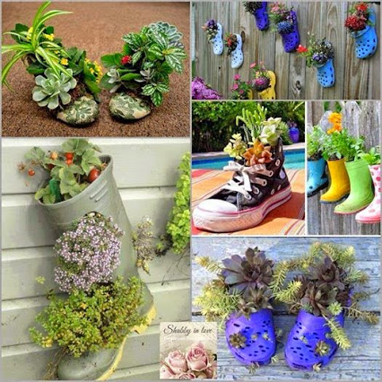 Give Your Old Shoes a New Chance And Turn Into a Wonderful And Unique Decoration For Your Garden 旧鞋子的用途