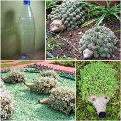 Hedgehog For Your Garden Using Plastic Bottles.用塑料瓶做的刺猬外形的花园盘景。