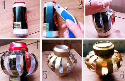 Make A Lantern And A Tea Light Holder Using Aluminium Soda Cans 使用铝易拉罐做一个灯笼
