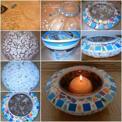 Make A Mosaic Candle Holders.做一个马赛克烛台。