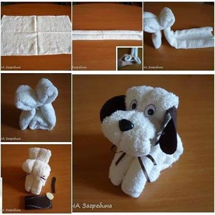 Make a CUTE DOG from a towel. 一条毛巾制作的小狗