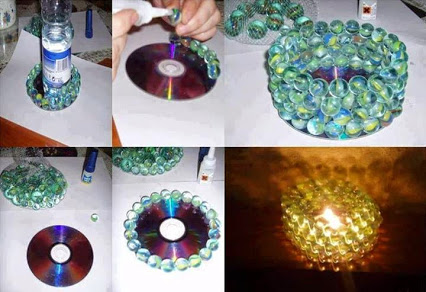 CD marble made of candlestick!CD弹珠做成的烛台