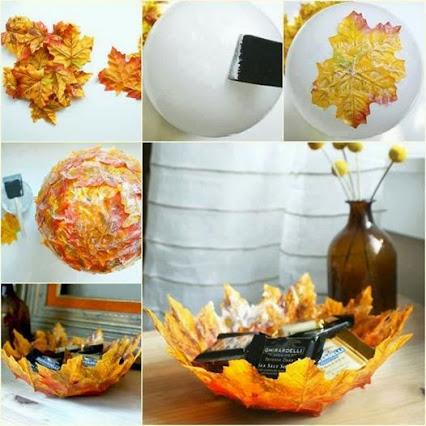 Autumn leaf decorative bowl.用秋天落叶装饰成碗。