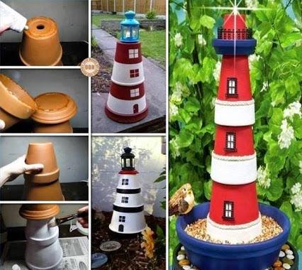 DIY Clay Pot Lighthouse.DIY灯塔。