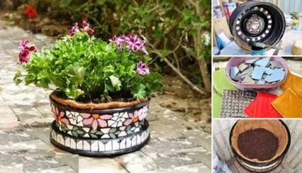 DIY Creative Flower Pot Using A Rim.DIY创意花盆边缘。