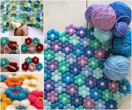 DIY Crochet Flower Blanket.DIY钩针花毯子。