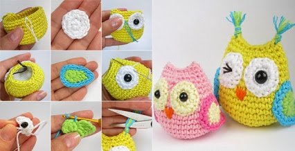 DIY Crocheted Owls.DIY钩编的猫头鹰。
