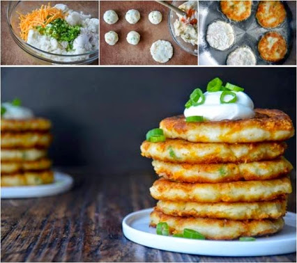 DIY Delicious Cheesy Leftover Mashed Potatoes Pancakes.DIY可口的干酪吃剩的土豆泥饼。