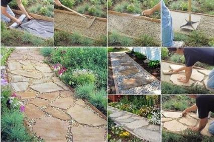 DIY Flagstone Path.DIY的石板路。