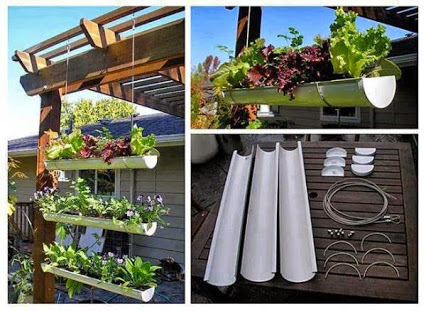 DIY Gutter Hanging Garden.DIY空中花园。