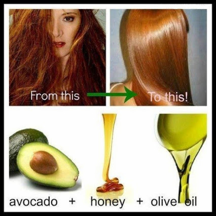 DIY Hair Mask Using Olive Oil, Honey And Avocado.DIY发膜使用橄榄油,蜂蜜和鳄梨。