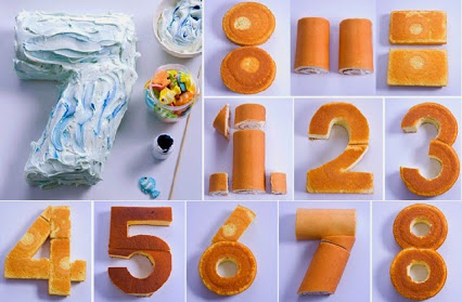 DIY Number Cake.DIY数字蛋糕。