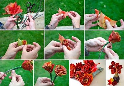 DIY Roses Using Autumn Leaves.用秋天的叶子DIY玫瑰花。