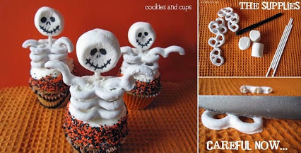 DIY Skeleton Cupcakes.DIY骨架的蛋糕。