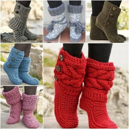 DIY Stylish Knitted and Crochet Slipper Boots.时尚的针织和编织的鞋靴DIY。