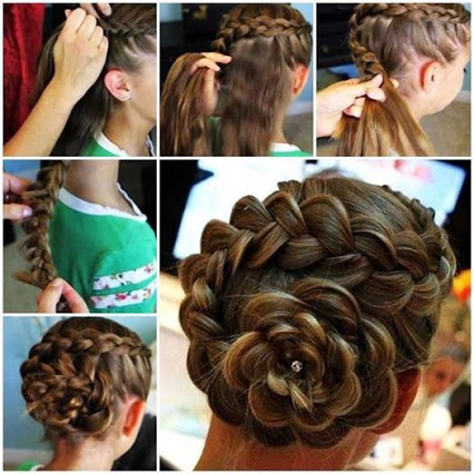 Dutch Flower Braid Updo Hairstyle.荷兰的花卉编织高髻发型。