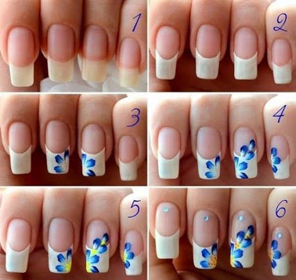 Flower Nail Art.花卉艺术指甲。