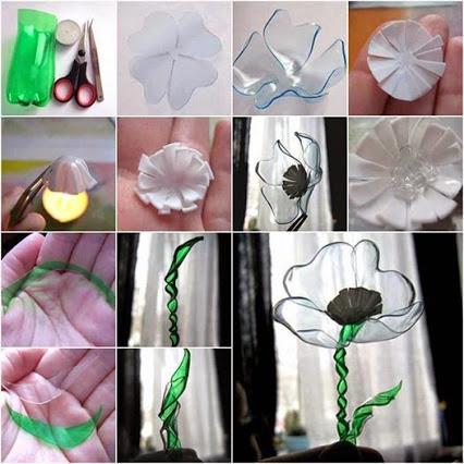 Flowers Using Plastic Bottles.使用塑料瓶的花。