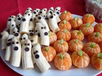 Fresh Fruit Halloween Idea.新鲜水果的万圣节的想法。