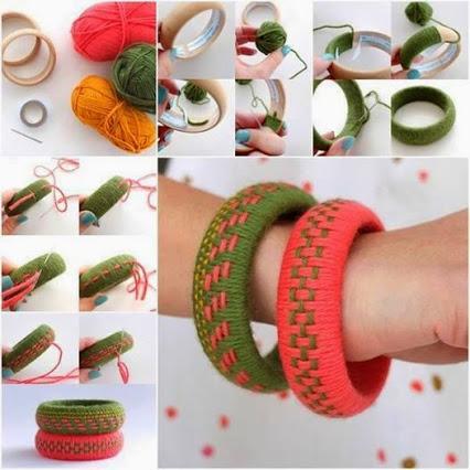 Fun Accessory ... DIY Woven Yarn Bangles.有趣的配件…DIY纱线编织手镯。