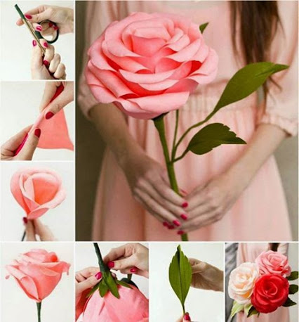 Giant Crepe Paper Roses.巨大的皱纹纸玫瑰。