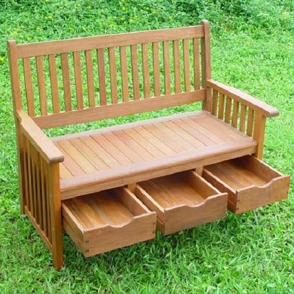 Hardwood Garden Bench with Storage Drawers.硬木花园台储物抽屉。