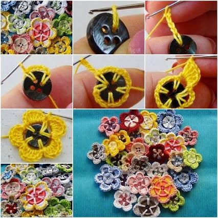 How to make Crochet Button Flowers.如何使钩扣花。