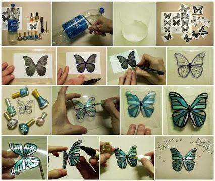 Make Butterfly Decorations Using Plastic Bottles.用塑料瓶制作的蝴蝶饰品。