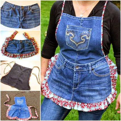 Make Farm Girl Apron from Recycled Jeans.回收牛仔裤做成围裙。
