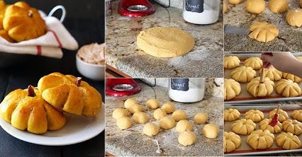 Pumpkin Bread Rolls with Cinnamon Butter.南瓜肉桂黄油做成的面包卷。