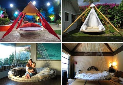 Recycle An Old Trampoline Into An Awesome Hanging Bed.回收旧蹦床成为一个可怕的挂床。