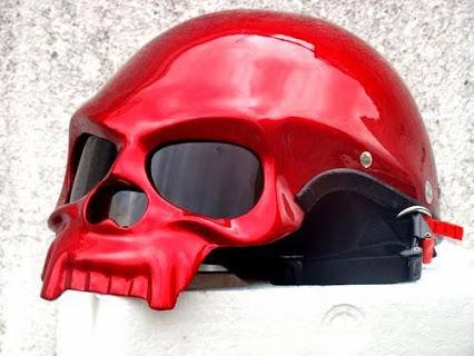 Skeleton Motorcycle Red Skull Helmet.红骷髅骨架摩托车头盔。