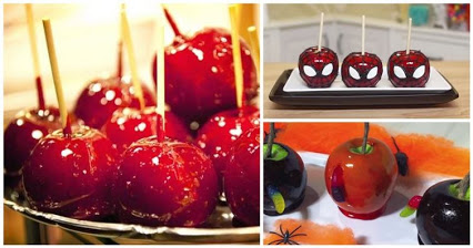 Spiderman Candy Apples .. Great idea for Halloween.蜘蛛侠糖果苹果..万圣节的好主意