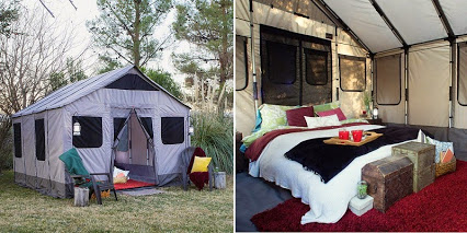 Sustainable Off Grid Living In A Safari Tent .... Provides 120 square feet of space.旅行帐篷的空间。