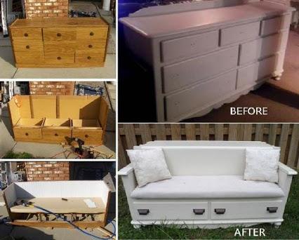 Turn An Old Dresser Into A New Bench – DIY把旧梳妆台翻新!