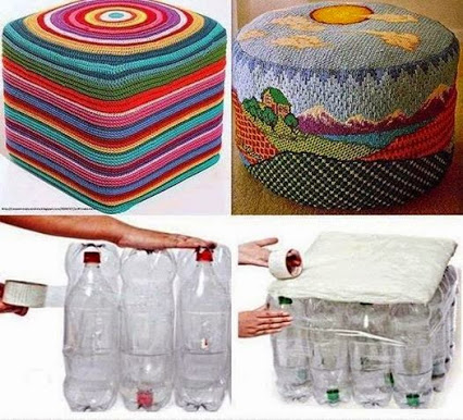Turn water bottles into ottomans!把水瓶子到脚垫!