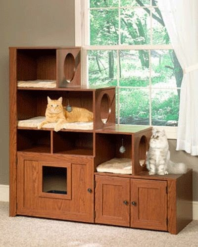 Wood Litter Cabinets Keep Cats and Owners Happy.