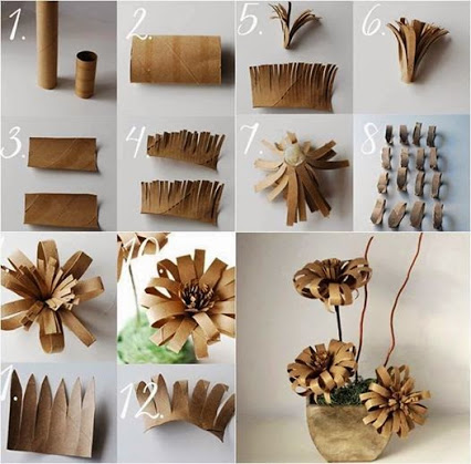 Creative ways to use toilet paper rolls.厕纸卷做成的装饰花。
