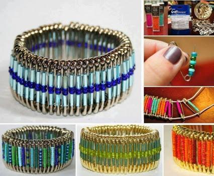 DIY Safety Pin Bracelet.DIY安全销手链。