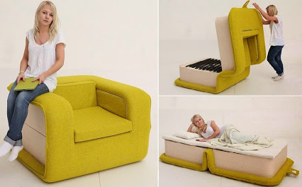Multifunctional Arm Chair With a Bed Attached.有一张床上多功能扶手椅。