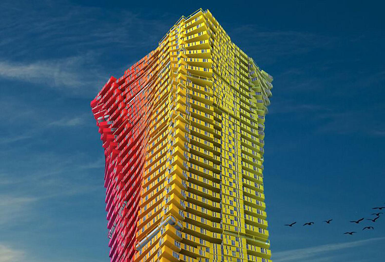 用集装箱堆叠而成的摩天大楼